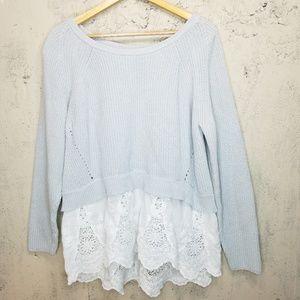 Cato light gray sweater w/lace ruffle Sz 18/20